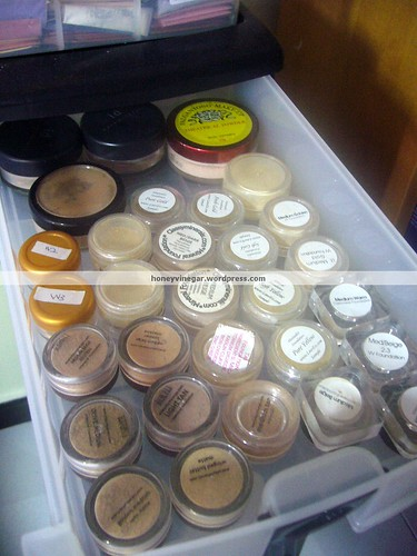 the back are my very first mineral makeup products from Bare Escentuals.