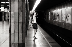 Underground (Che-burashka) Tags: city urban men girl monochrome station underground looking metro capital platform ukraine rails kiev capitalcities 400d
