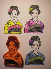 kimono girl stamp2 (DearYouFromKozue) Tags: art illustration japanese carving kimono rubberstamp
