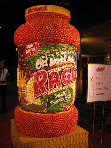I was hiding behind the giant Ragu vegetable sculpture at the time.