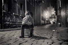 self portrait as ghost (mugley) Tags: city longexposure windows portrait urban blackandwhite bw selfportrait 120 film jes me car night buildings mediumformat graffiti bars industrial sitting fuji drum bricks australia melbourne 11 victoria cobblestones negative lane epson 6x9 cbd walls laneway agfa beanie warehouses milkcrate clack acros agfaclack v700 fujifilmneopanacros100 offltlatrobest mugley