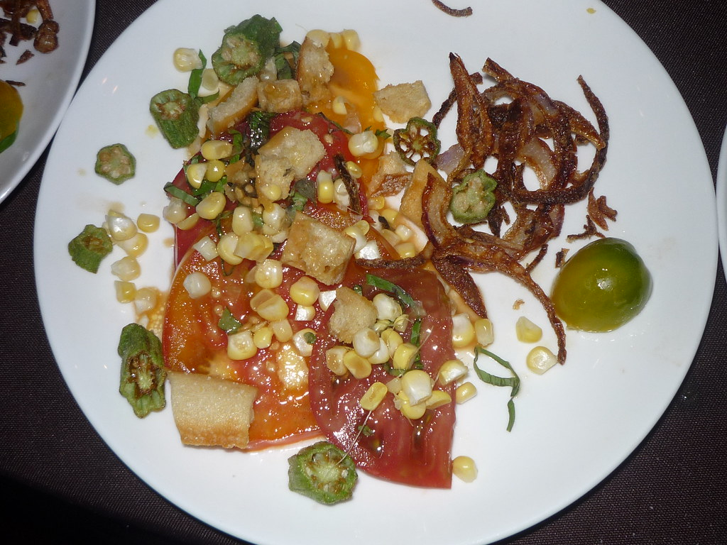 Hands On Gourmet recipe :Grilled Tomato Salad with Croutons & Ocra