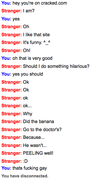 Omegle is the home to many retards such as this stranger.