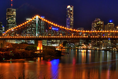 river city (dbtelford) Tags: city longexposure reflection night river geotagged lights nikon cityscape australia brisbane qld queensland brisbaneriver hdr storybridge d80 5xp