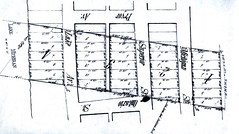 The three Pryor sons divided the farm in 1871, and this is the section that was allocated to Philip M. Pryor. From Milwaukee County Courthouse Register of Deeds, dated 1871; note that Lake Street is now Shore Drive; Michigan is now Wentworth.