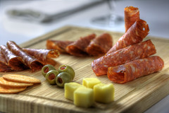 salami platter (pvcpvc) Tags: light shadow food color colour reflection art glass beautiful cheese canon photography mirror yummy focus artistic geometry napkin board olive stack meat delicious cube chopping roll cracker cubes stacking softbox platter culinary prop styling salami reflector crakers foodstyling