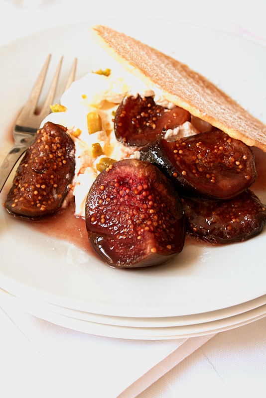 Port roasted Figs, mascarpone cream, pizzelle wafer