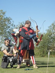 Bjar's Garb - Gules & Sable gyronny redux (Screaming Blue7) Tags: sca archery garb havok