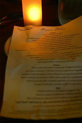 Incanto dinner menu