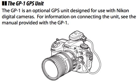 Plugging the GPS-1 GPS Unit into the 10-pin remote terminal on the front of the camera body, on page 198 of the Nikon D300S Manual