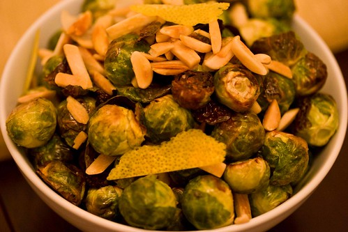 roasted baby brussels sprouts with lemon, garlic and almonds