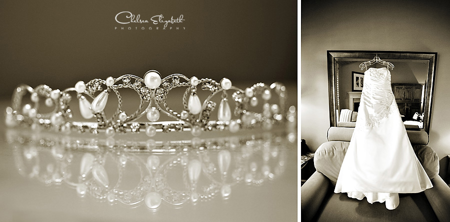 Sepia tiara and wedding dress at the Westlake Village Inn wedding photo