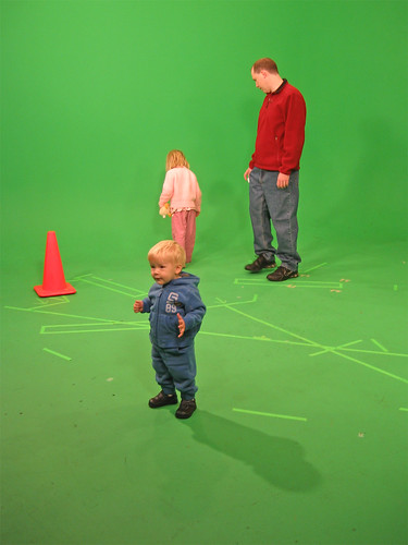 Playing in front of the green screen