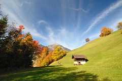 (Christoph Zurbuchen) Tags: blue autumn sunset sky orange sun mountain alps color tree green fall nature beautiful beauty yellow landscape outdoors golden nikon scenery colorful natural bright outdoor earth swiss vibrant country sunny scene land chalet kandersteg tranquil hutt d90 coth artofimages bestcapturesaoi