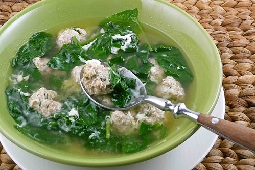 Italian Wedding Soup (with Turkey & Italian Sausage Meatballs, & Spinach) Recipe