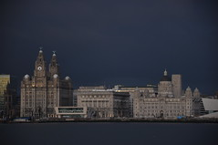 Liverpool skyline at dusk (East an inspired) Tags: sunset clock water ferry skyline liverpool river cathedral keith panoramic arena threegraces pierhead liverbirds liverbuildings rivermersey unitybuilding merseyferry westtower royaliris