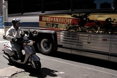 Son of Anarchy (Josh Sinn) Tags: nyc newyorkcity bus funny downtown ride manhattan ad motorcycles fx moped along sep8 sonsofanarchy