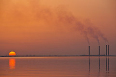 Sunset and Pollution (mhels_13) Tags: sunset sea chimney seascape pollution kuwait ocea ramil kuwaitsunset mhels13 sunsetandpollution