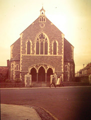Fishponds United Methodist Church 1960s/1970s -  note clock which went to St Mary's (emmdee) Tags: church bristol methodist 1970s johnwesley methodistchurch fishponds kingswoodcircuit