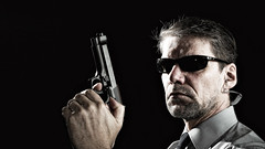 Agent [smith] ([martin]) Tags: portrait man male art sunglasses self person glasses costume nikon gun martin guard tie smith security criminal crime weapon pistol agent protection fbi secretservice 007 csi bodyguard detective d300 movieart specialagent selfprotait martinbiskoping calvinized