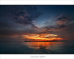 12mm Magic Hour (view on black & Large) (liewwk - www.liewwkphoto.com) Tags: ocean sunset sky sunlight seascape last landscape golden boat magic first hour malaysia magichour melaka goldenhour tg tanjung bidara liewwk