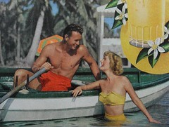 1950s vintage advertisement ORANGE JUICE shirtless man swim trunks woman in two piece swimsuit color photo (Christian Montone) Tags: shirtless woman man men women swimtrunks vintageadvertisement twopiecebathingsuit underwearandswimwear