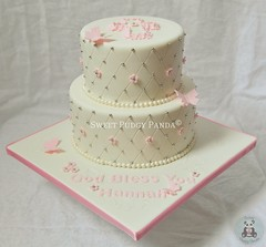 Quilted Communion Cake (Sweet Pudgy Panda) Tags: pink white cake religious cross quilted communion fondant tiered sweetpudgypanda