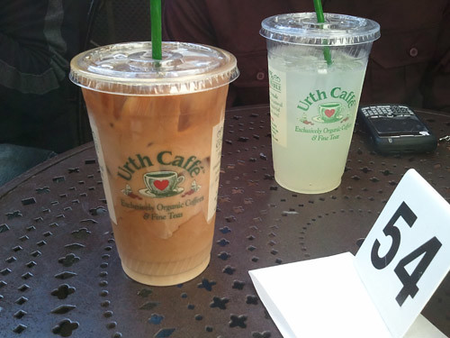 Urth Cafe: Iced Cofee and Fresh Lemonade