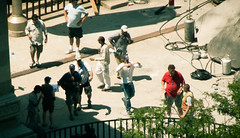 Transformers DOTM (TF3) Michael Bay directing Michigan Avenue bridge (Pixel Rally) Tags: summer chicago film set movie illinois angle action battle location business crew setup framing wrigleybuilding michiganavenue explosions excitement directing filming behindthescenes positioning markers 2010 viewfinder eyewitness michaelbay tf3 stuntdoubles headcutouts transformers3 transformersdarkofthemoon transformersdotm