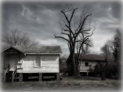 HAUNTED (NC Cigany) Tags: blackandwhite bw house home weather rural dead blackwhite decay oldbuildings ruraldecay countryroad oncewashome