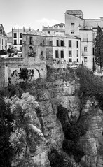 Cliff top, Ronda, Spain (Larry Dalton) Tags: cliff casm ronda spain monochrome blackandwhite