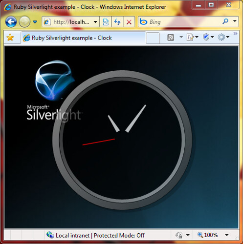 IronRuby Silverlight example - Clock