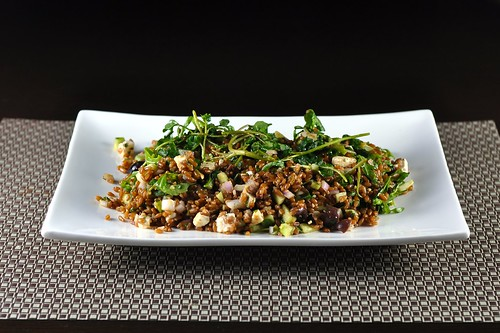 Wheatberry salad w/ watercress, kalamata, cucumbers, red onion, and feta