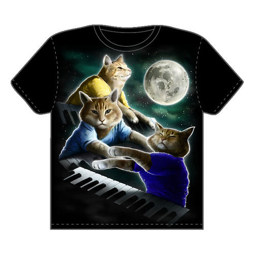 Thumb OMFGeek la camiseta del Three Keyboard Cat Moon