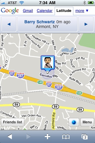 My Location on Google Latitude For iPhone