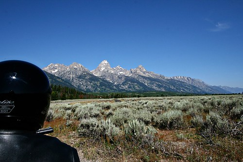 We rented a Harley 2009 Street Glide for a couple of days.  This was my view from behind Calvin.  Tetons are in the background.