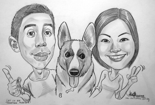 Couple caricatures with dog in pencil