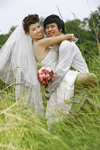 Asian couple just married