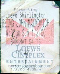 20000102 - Being John Malkovich - ticket stub - Lowes Cineplex, Shirlington (Rev. Xanatos Satanicos Bombasticos (ClintJCL)) Tags: movie virginia theater 2000 ticket entertainment movies ticketstub beingjohnmalkovich shirlington 200001 loewscineplex 20000102