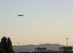 Airship (thamiter) Tags: sanfrancisco california usa west northerncalifornia landscape oakland harbor bart zeppelin sanfranciscobayarea blimp airship eastbay 2009 dirigible gasbag