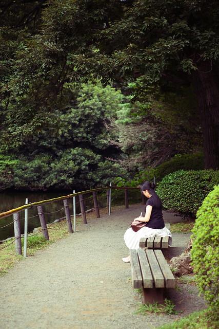池の端のベンチ