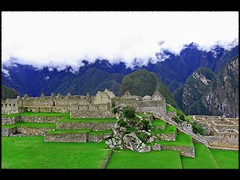 split-level at Machu Picchu (Now and Here) Tags: panorama white mountains green peru machu picchu inca stone cuzco clouds stairs canon buildings fb cusco steps terraces powershot inka huts pichu machupicchu blend andenes a85 splitlevel mostviewed hu