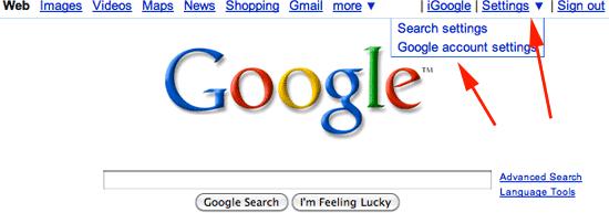 google settings drop down