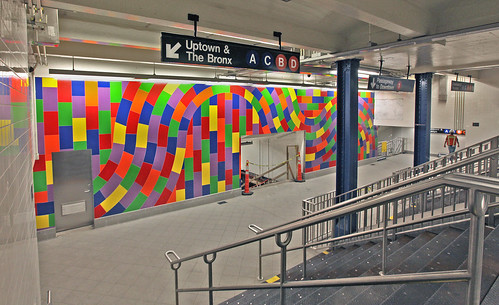 Sol Lewitts Whirls and Twirls (MTA) was unveiled today at the Columbus Circle station. (Courtesy MTA)