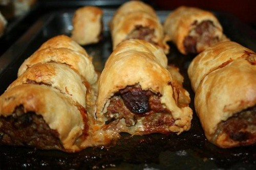 Pork & chorizo rolls in homemade butter shortcrust pastry
