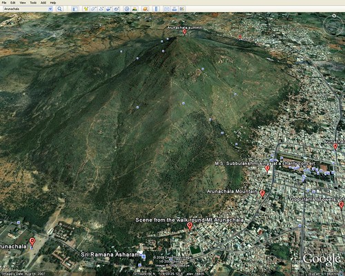 Arunachala in Google Earth