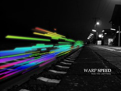 Warp Speed (Bigod) Tags: white black color station night photoshop dark lights bahnhof rails weiterstadt