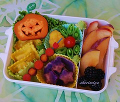 Ravioli & Jack Bento (sherimiya ) Tags: school cute chicken halloween fruits face kids tomato lunch happy kid healthy jackolantern sheri plum fresh bento sweetpotato blackberries ravioli obento peapods okinawansweetpotato purplecarrots yellowcauliflower marooncarrots sherimiya