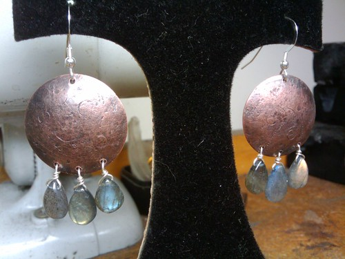 Earrings made in studio this afternoon
