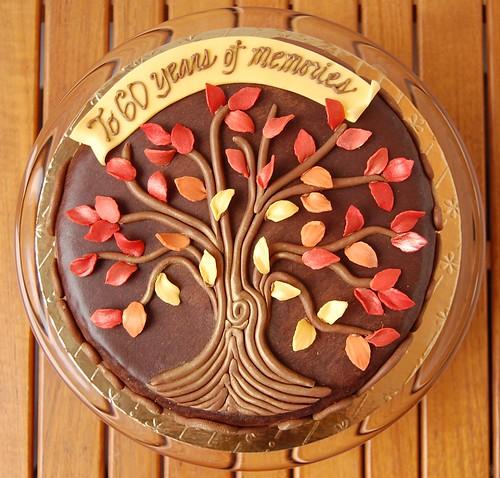 Autumnal Family Tree birthday cake - top view